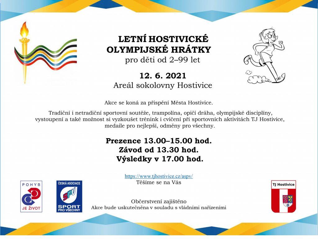 LOlmypijské hrátky 12. 6. v areálu Sokolovny Hostivice